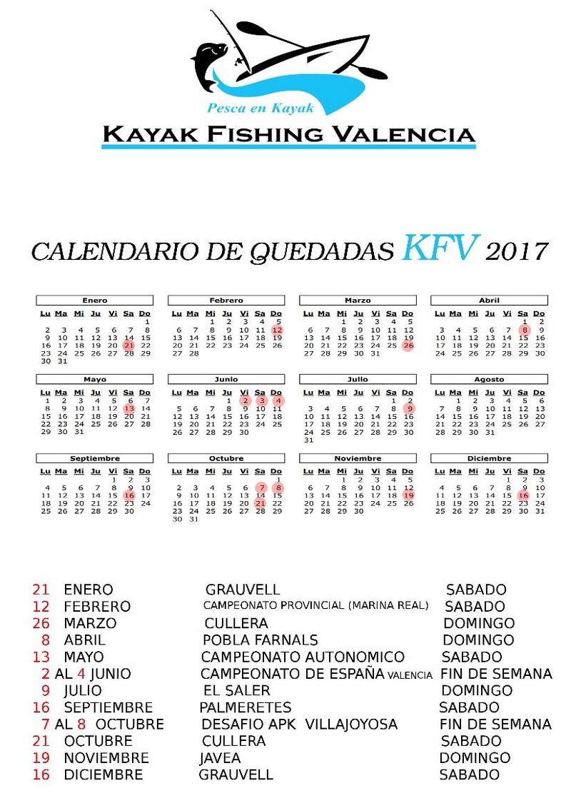 "Calendario Actividades ""Kayak Fishing Valencia"" Kayak_10"