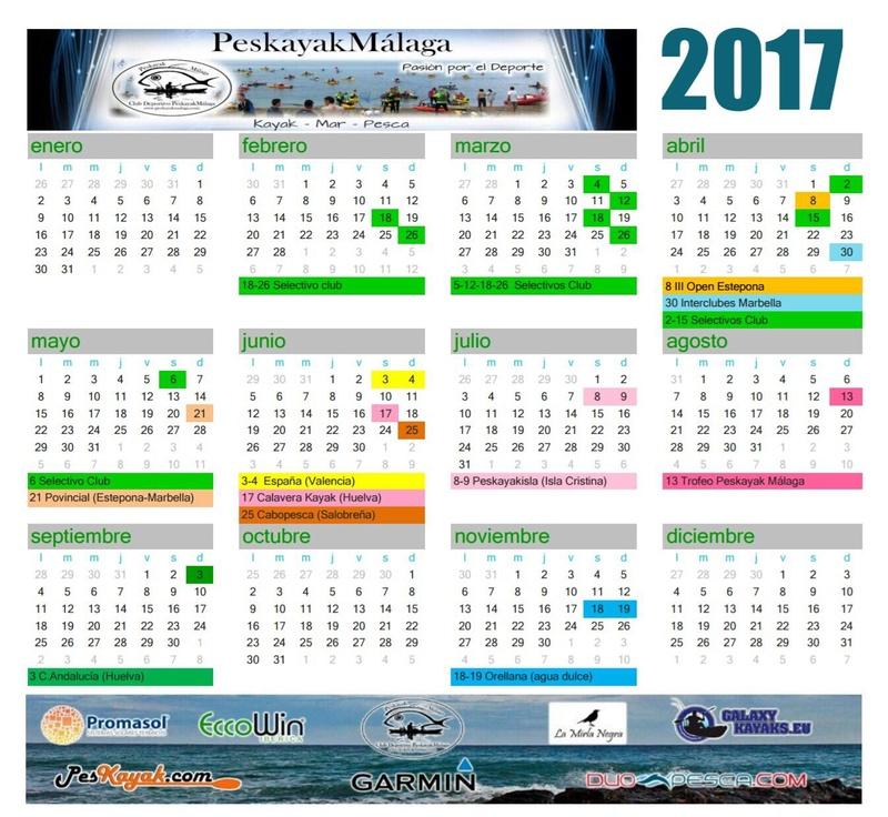 "Calendario Actividades ""PESKAYAK MALAGA"" Peskay10"