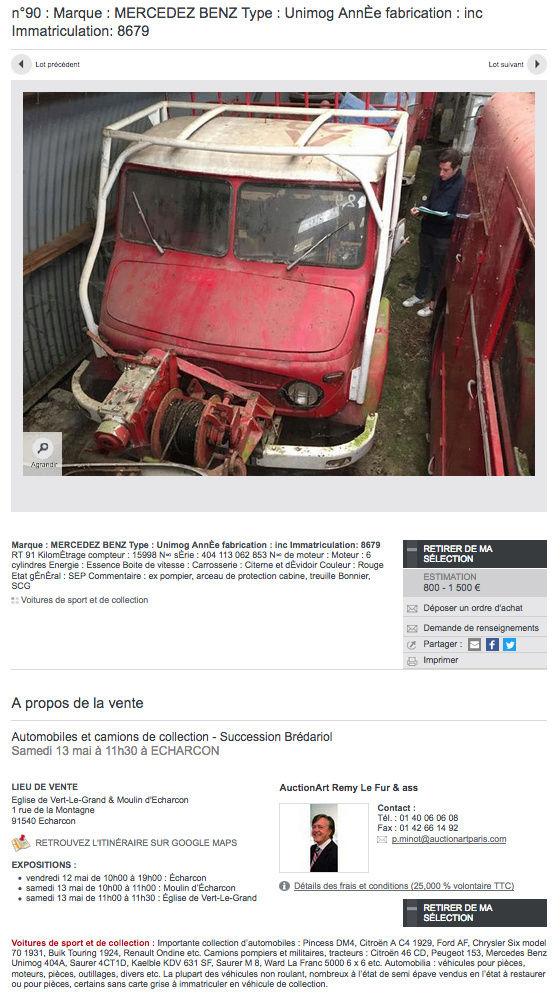 Vente aux enchères de 3 Unimog 404 ex-pompier le 13 mai à Echarcon (91540) Captur19