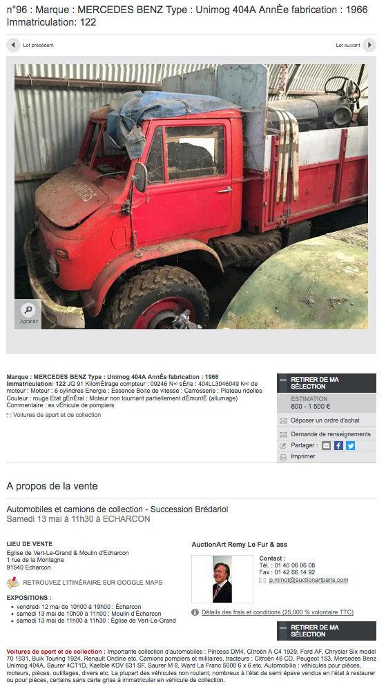 Vente aux enchères de 3 Unimog 404 ex-pompier le 13 mai à Echarcon (91540) Captur20