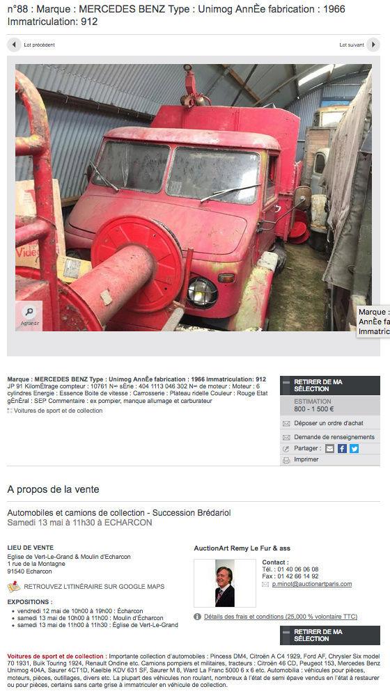 Vente aux enchères de 3 Unimog 404 ex-pompier le 13 mai à Echarcon (91540) Captur21
