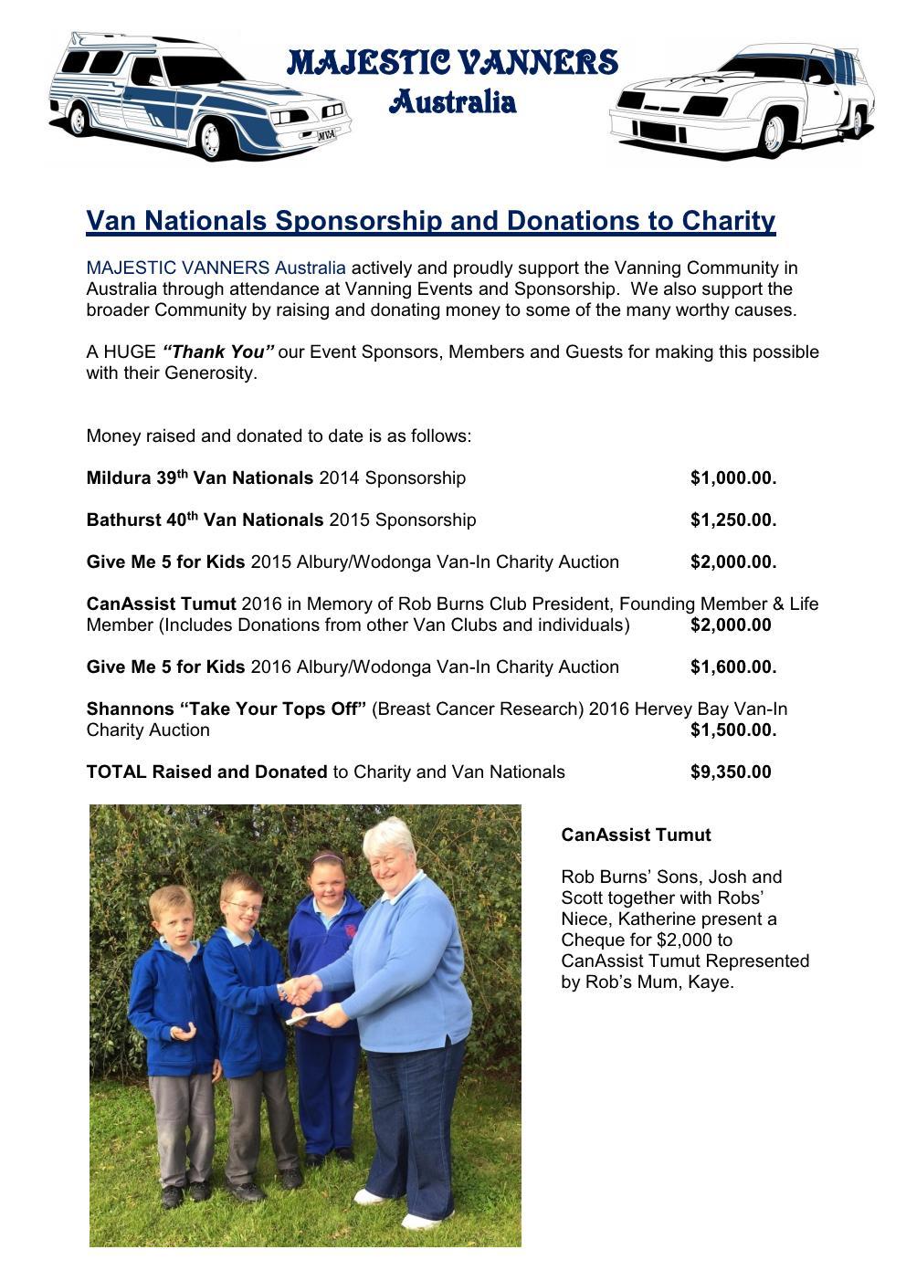 Van Nationals Sponsorship and Donations to Charity Mv_cha11