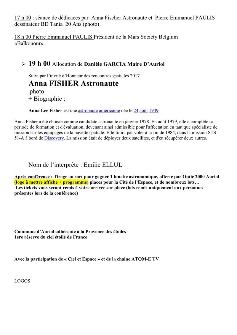 Rencontre de l'Espace à Auriol (Bouches du Rhône) 9 septembre 2017 Progra10