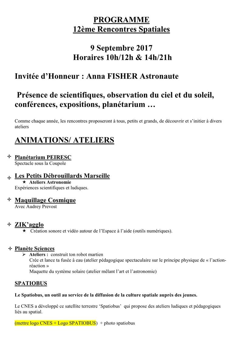 Rencontre de l'Espace à Auriol (Bouches du Rhône) 9 septembre 2017 Progra12