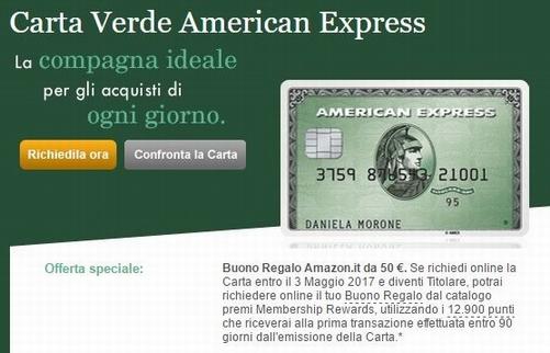 CARTA VERDE AMERICAN EXPRESS regala BUONO AMAZON € 50 [scaduta il 03/05/2017] Cattur16
