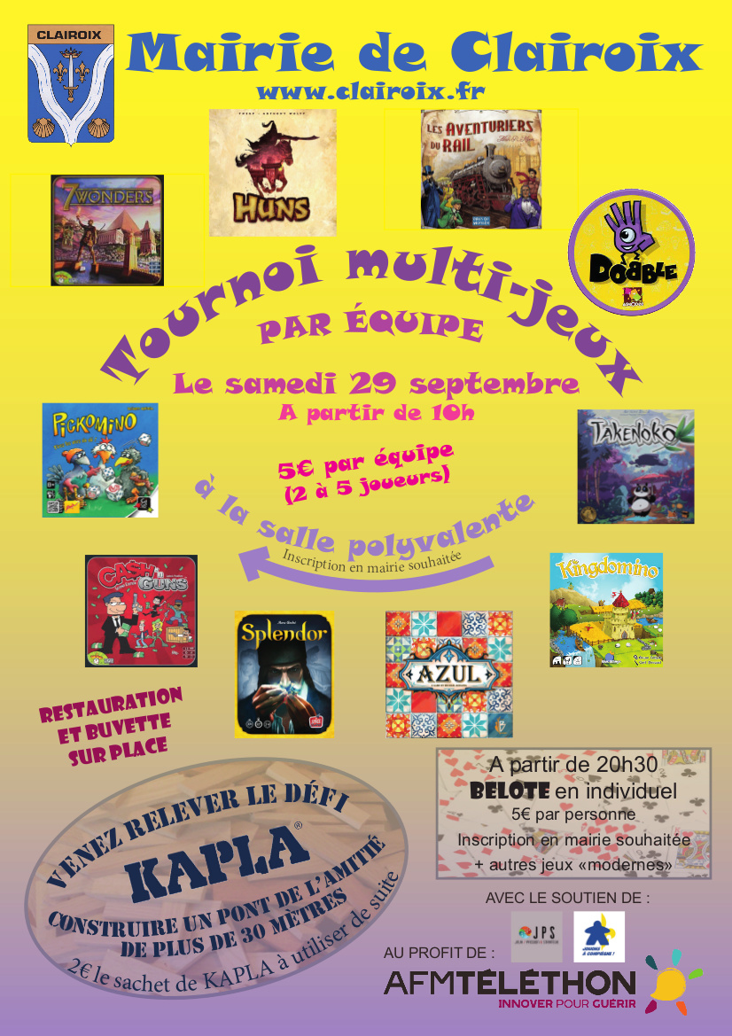 Samedi 29 septembre - Tournoi multijeux par équipe au profit du Télethon à Clairoix Affich10