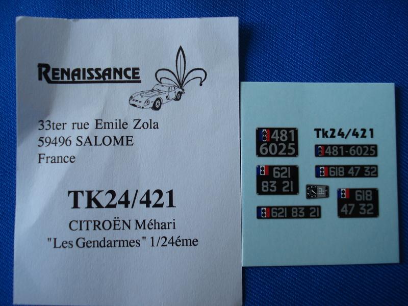 [RENAISSANCE] Set de détaillage CITROËN MEHARI 1/24ème Réf TK24/426 (photodécoupe), TK24/421 (les gendarmes) et TK24/429 (set d amélioration) Dsc06441