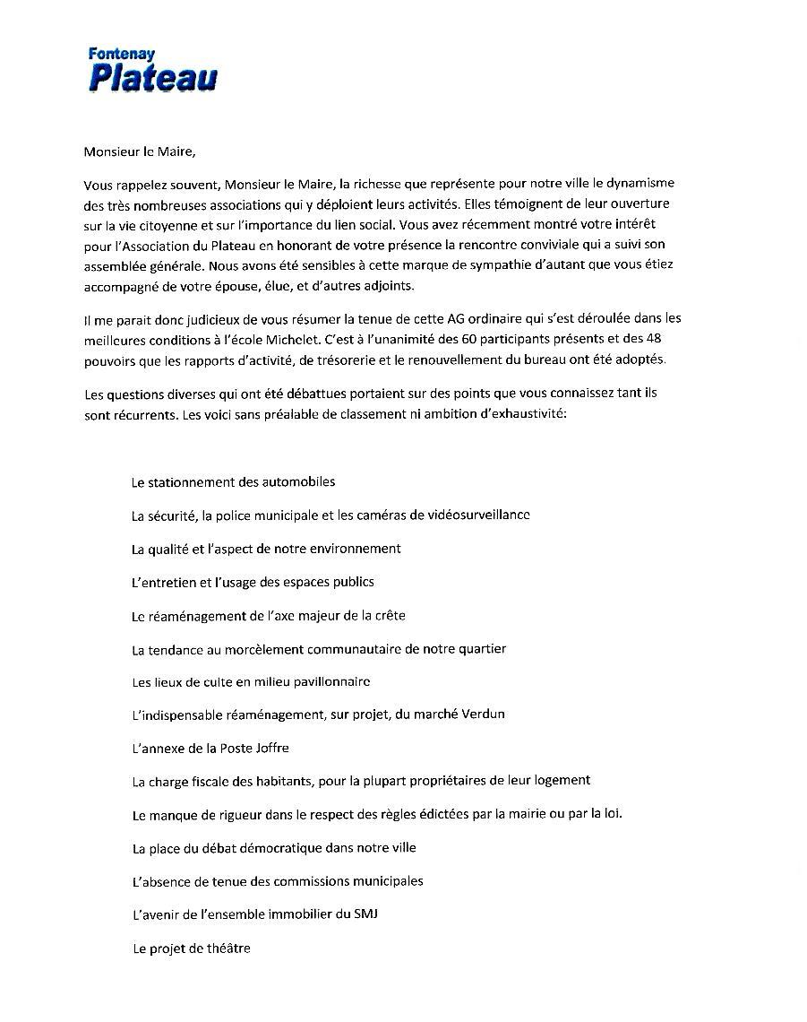 Echange de courriers entre le Plateau et M.le Maire Lettre13