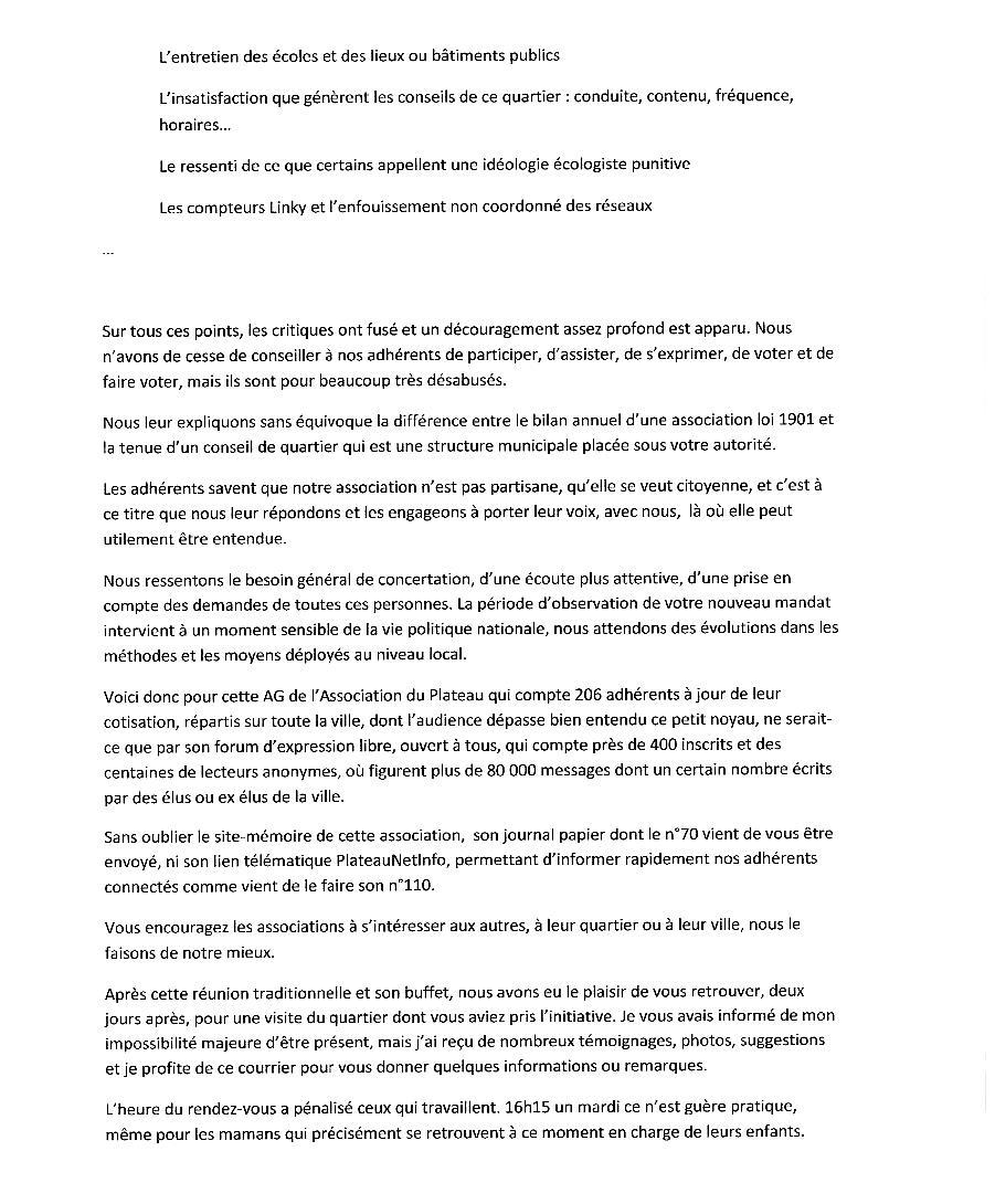 Echange de courriers entre le Plateau et M.le Maire Lettre14