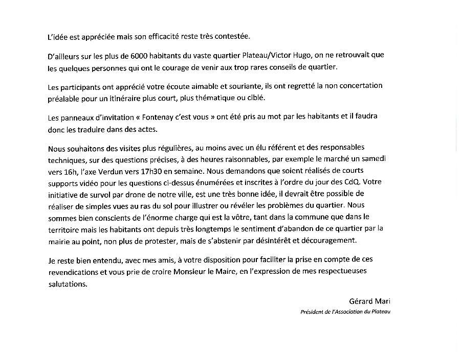 Echange de courriers entre le Plateau et M.le Maire Lettre15