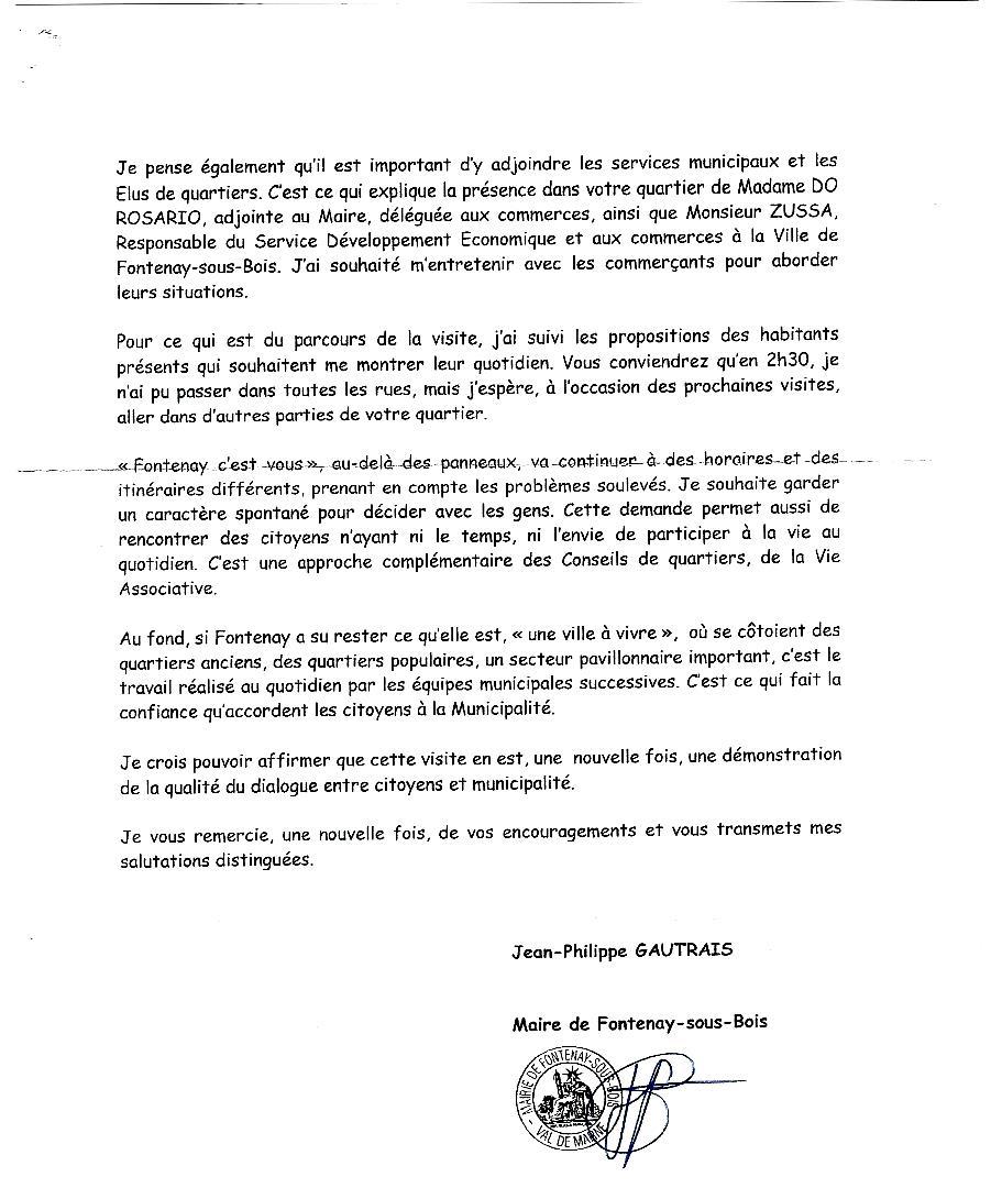 Echange de courriers entre le Plateau et M.le Maire Lettre16