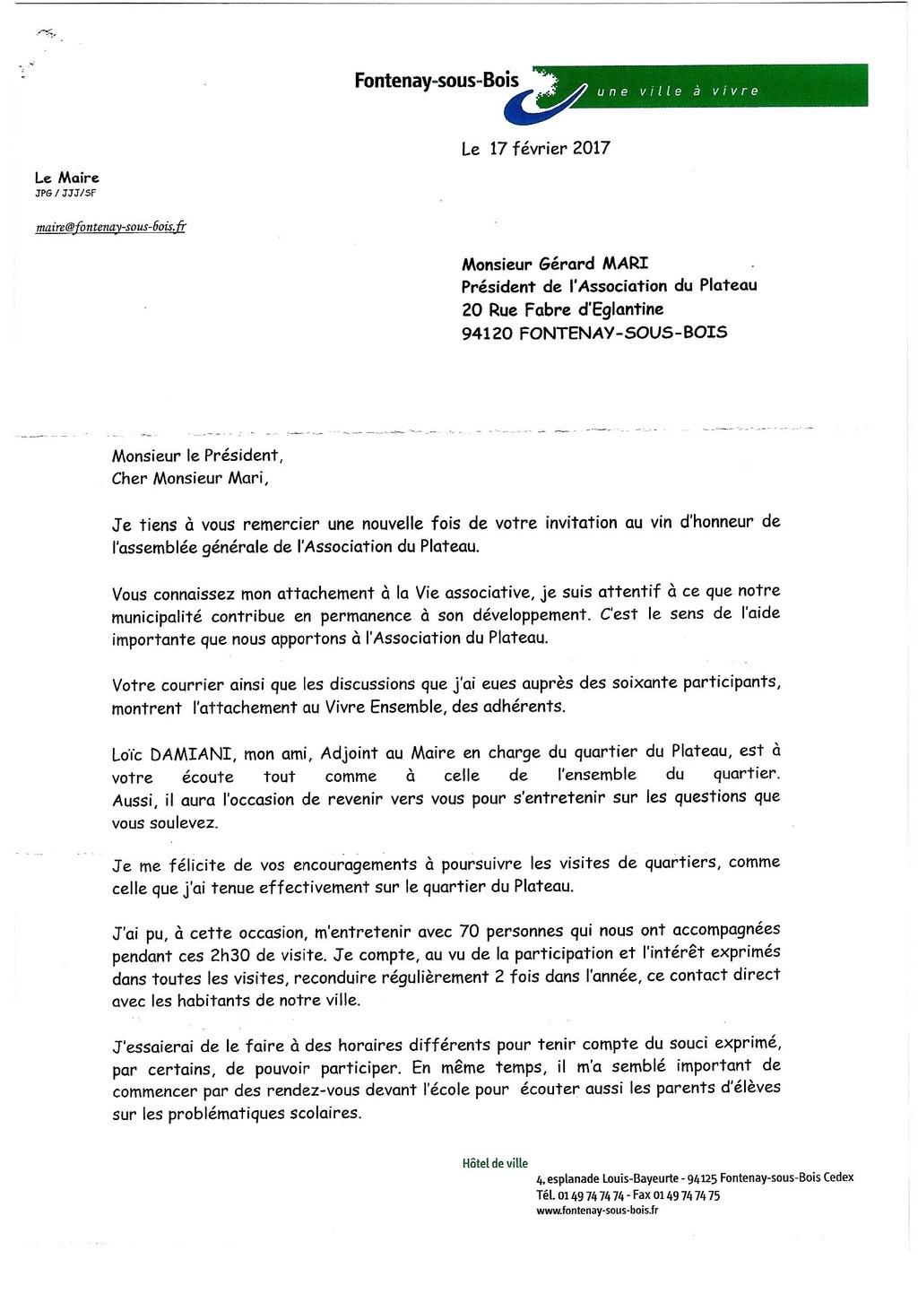 Echange de courriers entre le Plateau et M.le Maire Lettre17