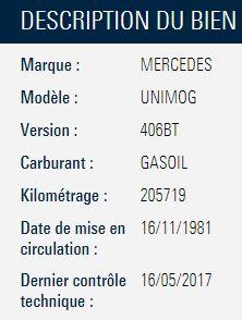 UNIMOG 406 BT à vendre aux enchères (Conseil Général de la Somme) 796