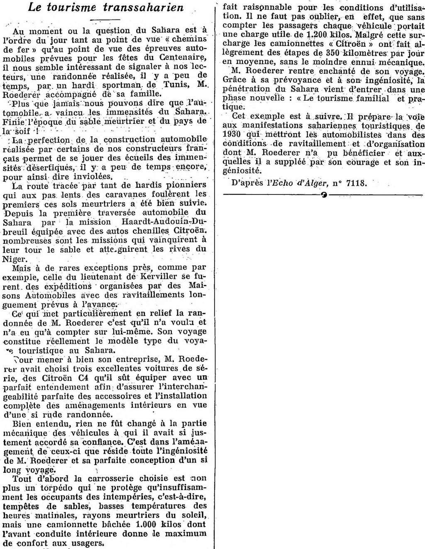 Des Utilitaires C4 en Afrique en 1930 = mission Nenard Export21