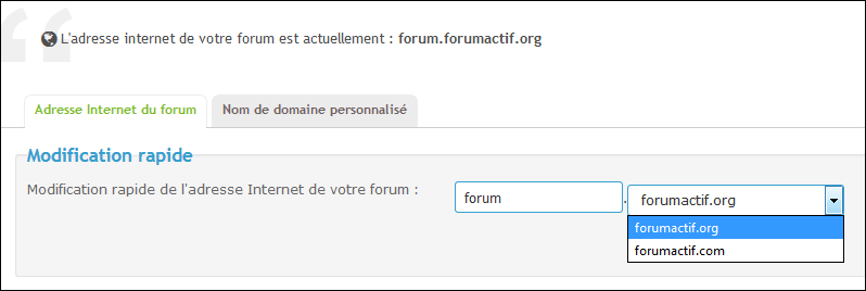 Modifier l'adresse Internet de votre forum Tuto210