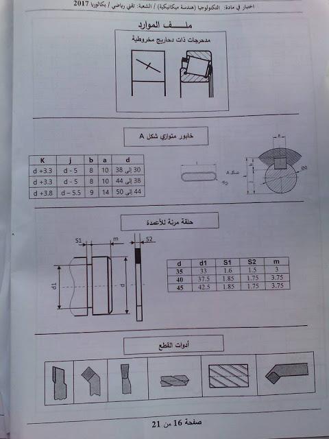 موضوع الهندسة الميكانيكية لبكالوريا 2017 شعبة تقنى رياضى  1610