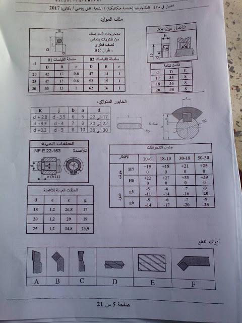 موضوع الهندسة الميكانيكية لبكالوريا 2017 شعبة تقنى رياضى  512