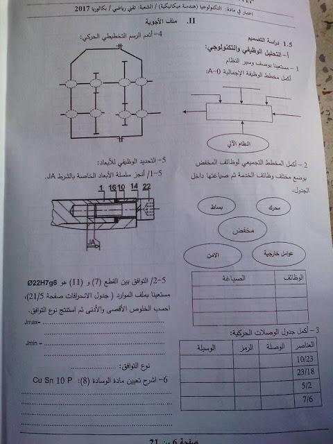 موضوع الهندسة الميكانيكية لبكالوريا 2017 شعبة تقنى رياضى  611