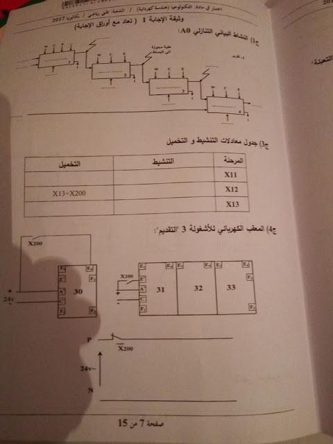 موضوع الهندسة الكهربائية لبكالوريا 2017 شعبة تقنى رياضى  710