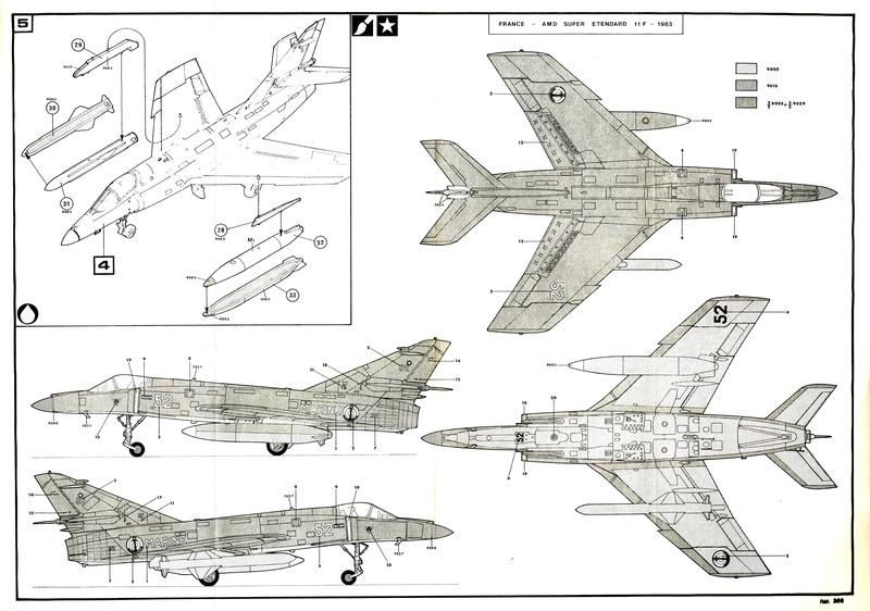 DASSAULT SUPER ETENDARD et missile EXOCET 1/72ème Réf 360 Notice  Cci08013