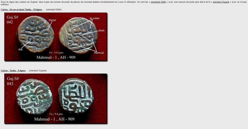 Tankah indienne Sultanat du Gujarat pour Mahmud Shah I Captur11