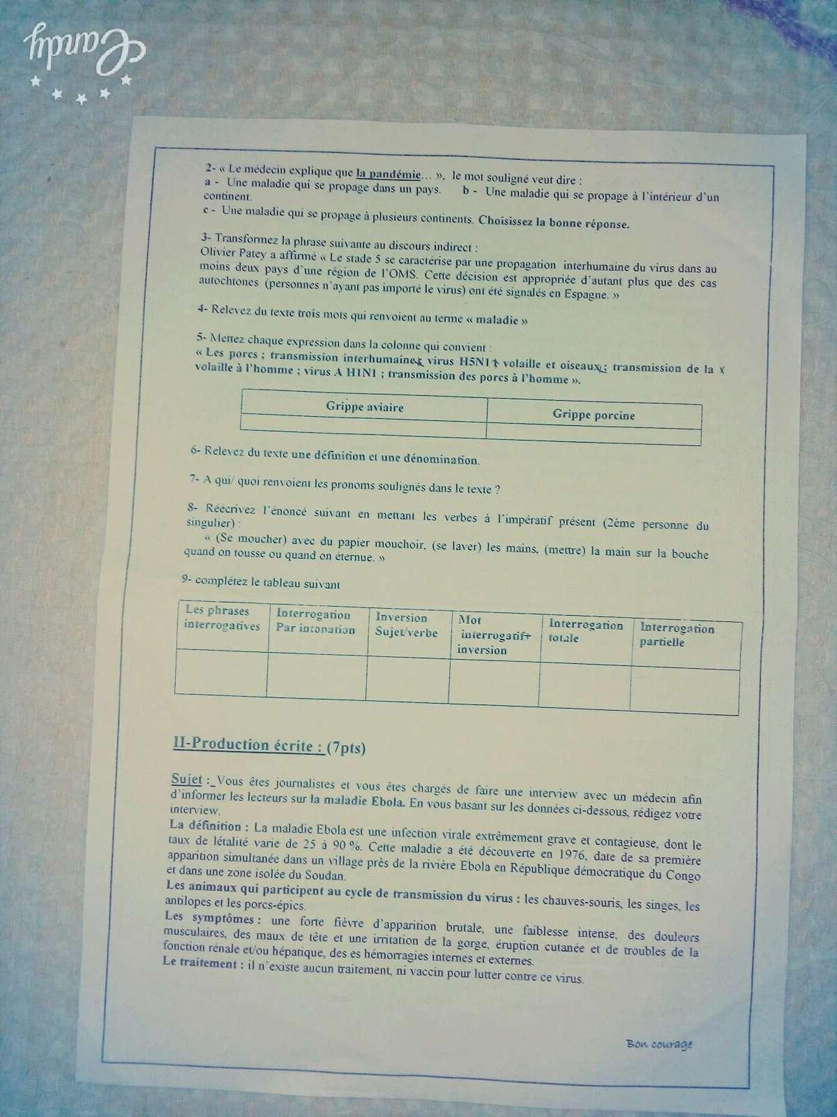 إختبار الفصل الثاني في اللغة الفرنسية للسنة الاولى ثانوي أداب 1أ - نموذج 1 17035910