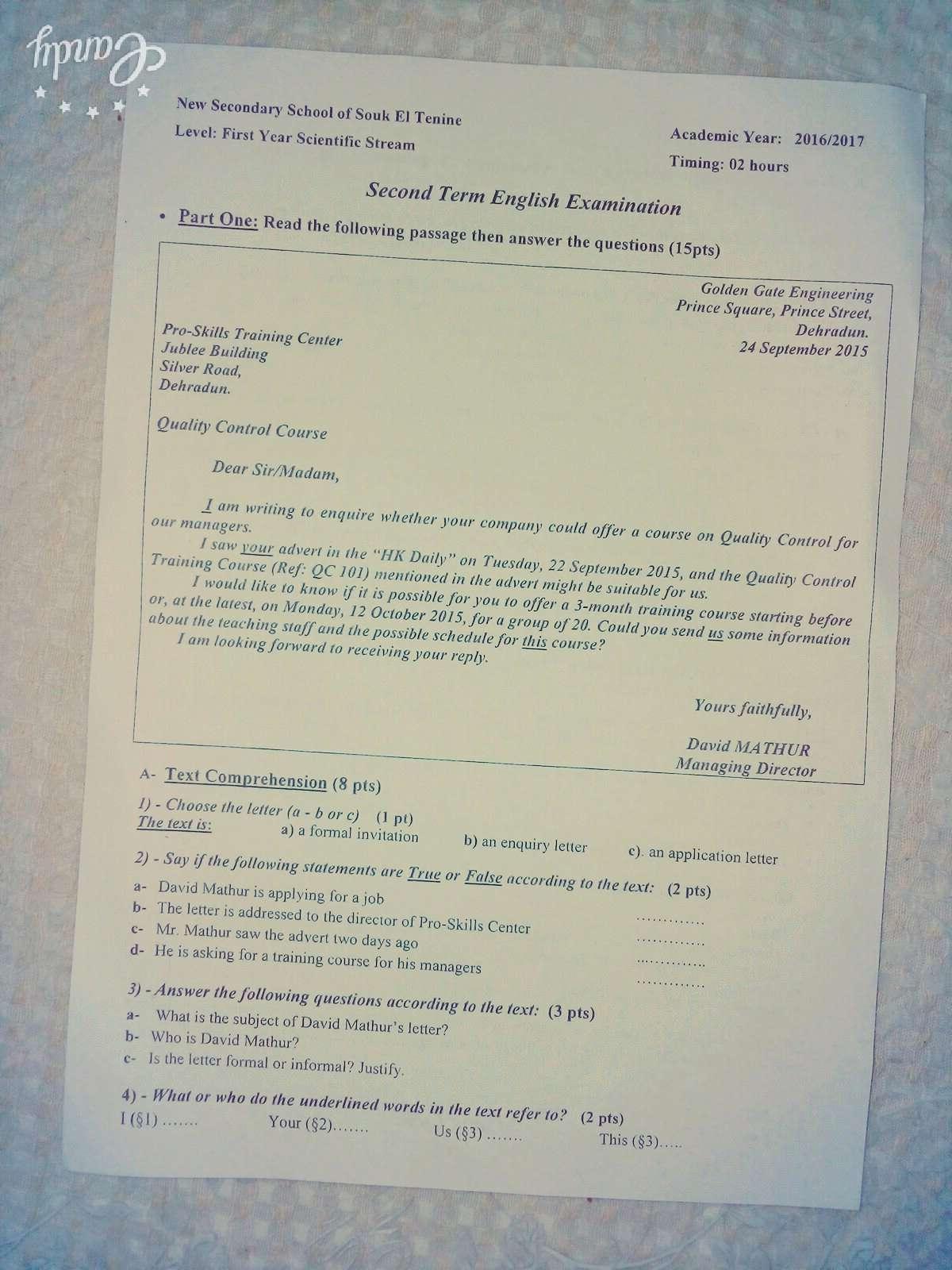 اختبار الفصل الثاني في الانجلزية للسنة الاولى ثانوي علوم - النموذج 1 17036710