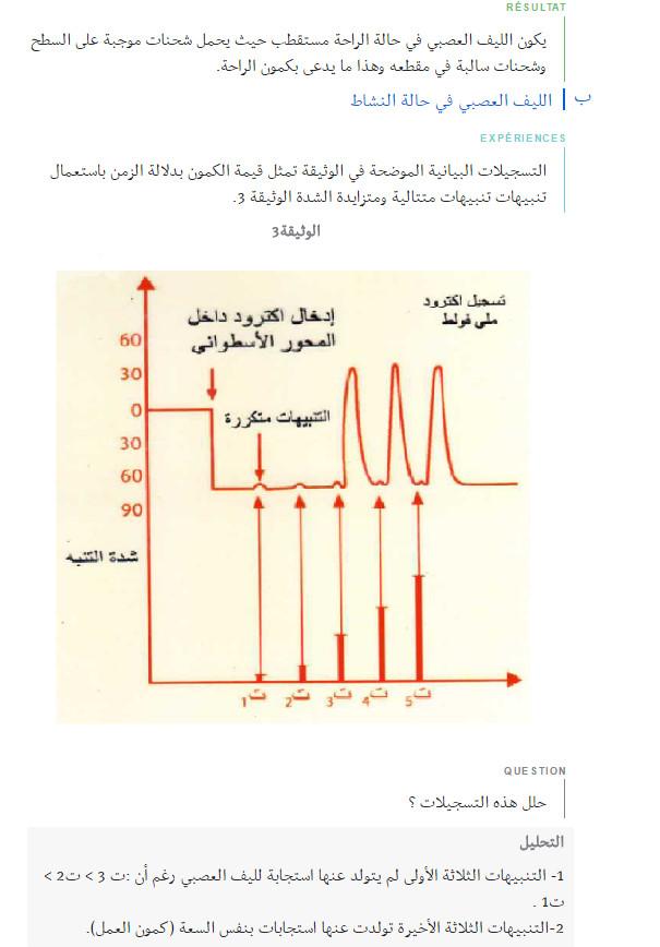 شرح مفصّل - مذكرة : وحدة العضوية - التحكم العصبي - مفهوم السيالة العصبية - السنة الاولى ثانوي علوم Bandi116