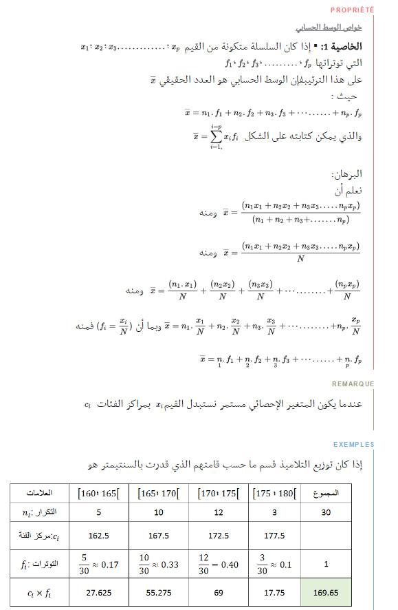 ملخص وحدة الاحصاء - الرياضيات - السنة الاولى ثانوي علوم Bandic81