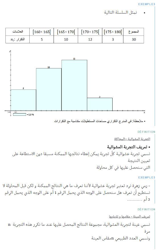 ملخص وحدة الاحصاء - الرياضيات - السنة الاولى ثانوي علوم Bandic82