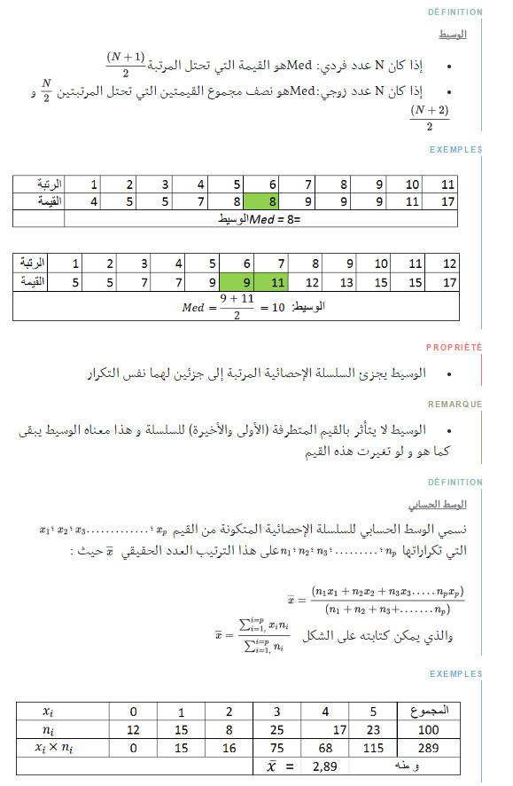 ملخص وحدة الاحصاء - الرياضيات - السنة الاولى ثانوي علوم Bandic83