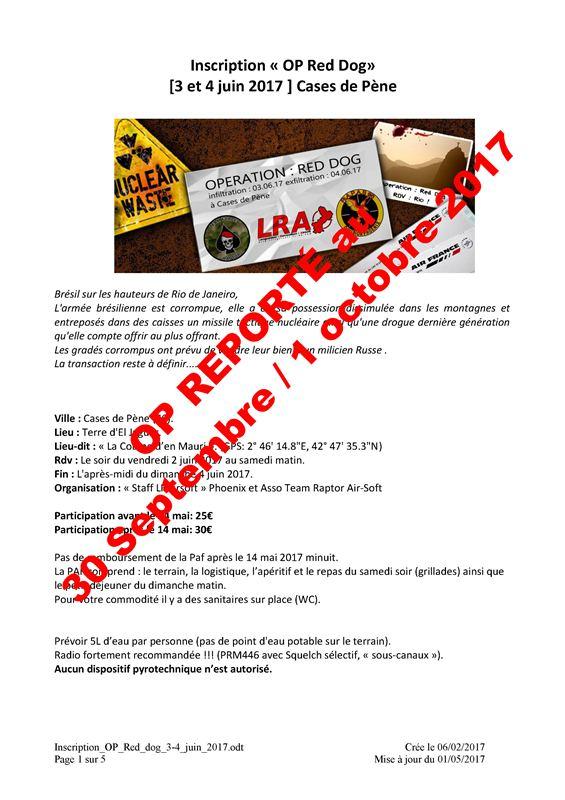 Opération Red Dog  30/09/17 et 01/10/17  Cases de Pène (Perpignan)  Inscri10