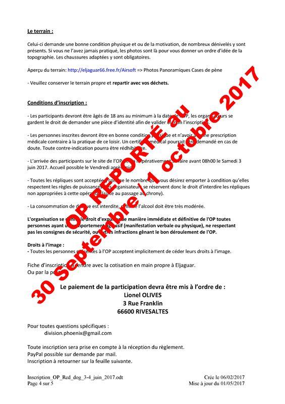 Opération Red Dog  30/09/17 et 01/10/17  Cases de Pène (Perpignan)  Inscri13
