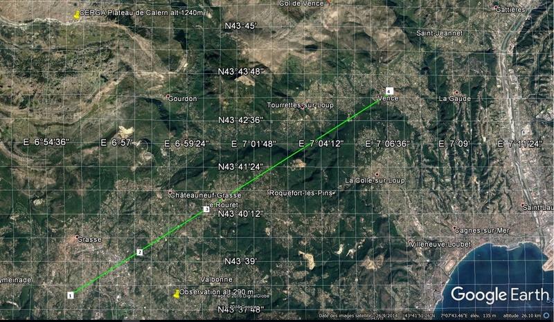1990: le 05/11 à autour de 19h - Ovni triangulaire volant - Grasse - Alpes-Maritimes (dép.06) Trajet11