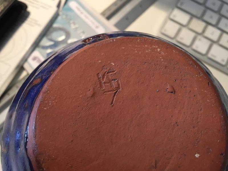Blue vase with marks - cornish? Geoffrey Whiting? Img_1928