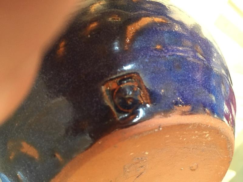 Blue vase with marks - cornish? Geoffrey Whiting? Img_1929