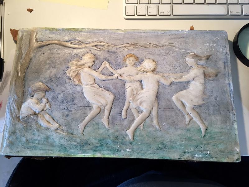 Chalkware wall plaque - Sophia Rosamond Praeger, Ireland Img_2052