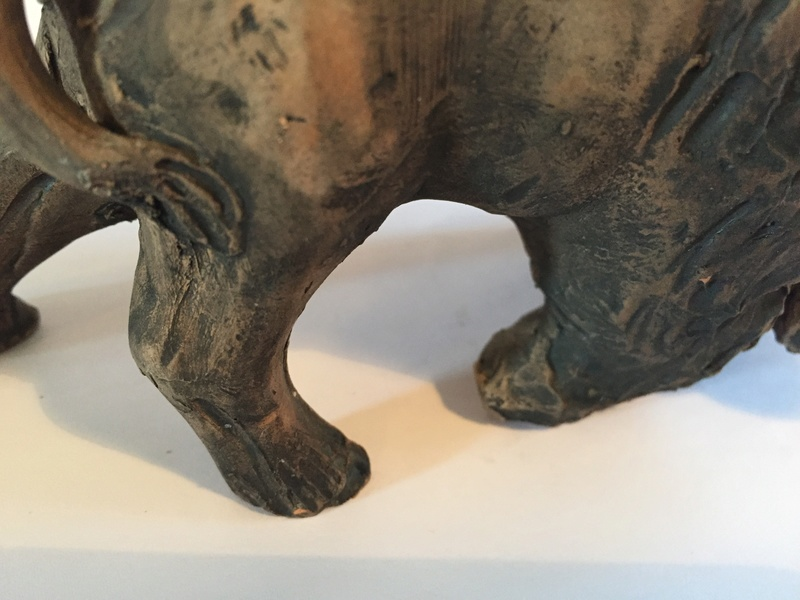 Pottery model of a Bison with a mark Img_2130