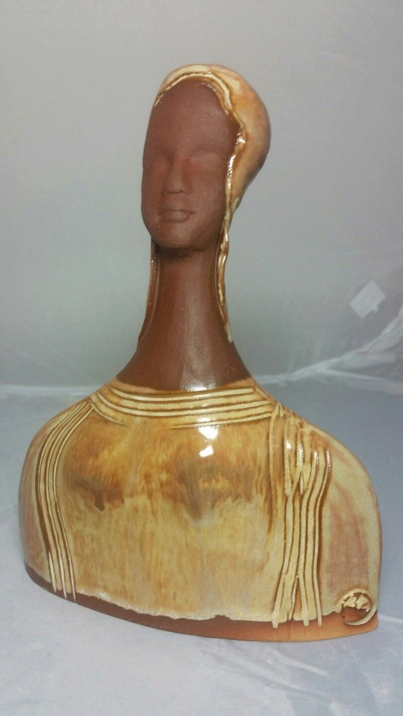 Wonderful pottery bust with unknown mark S-l16073