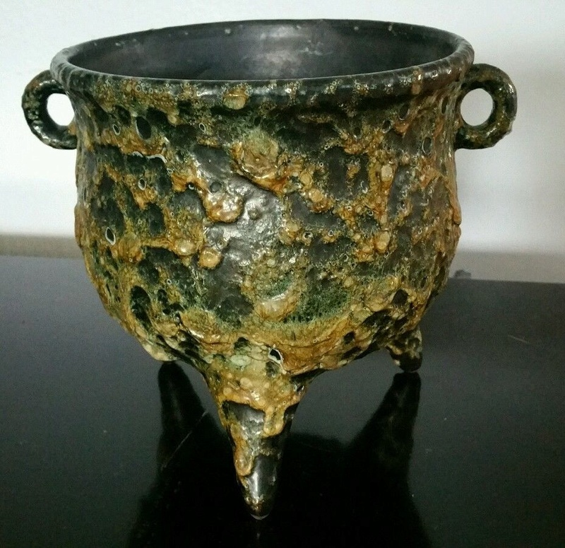 volcanic glaze? Unmarked footed bowl. S-l16084