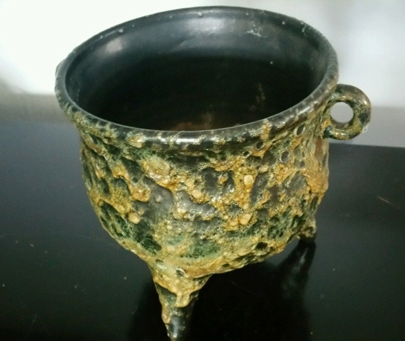 volcanic glaze? Unmarked footed bowl. S-l16085