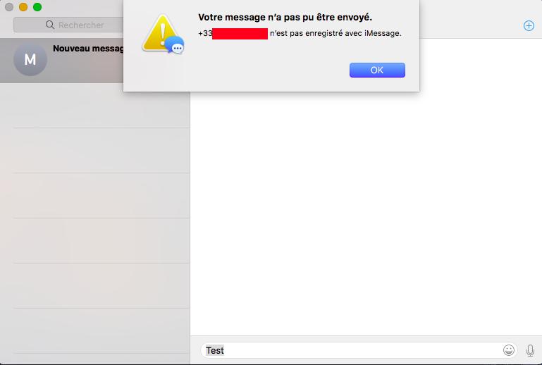 Numero_de_contact n'est pas enregistré avec iMessage Captur24