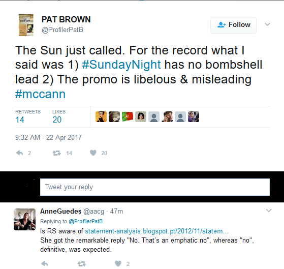 Pat Brown, U.S. Criminal Profiler, to appear on Australian TV show, 'Sunday Night', this Sunday (23 April 2017) - Page 3 Mccann13
