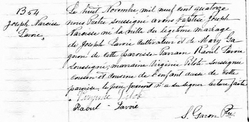 Mariage de Joseph Lavoie avec Marie Gagnon Narcis10