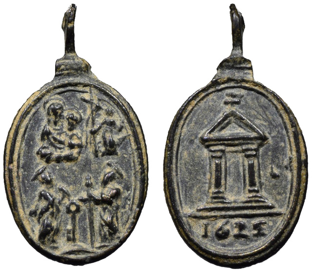 Virgen con Niño, S. Juan Bautista, S. Pedro y S. Pablo / Puerta Santa y año jubilar romano 1625 (R.M. SXVII-O430) O-29811