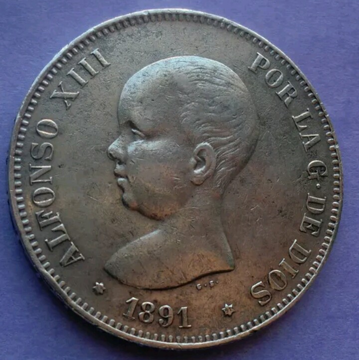 5 Pesetas 1891 (*18*91). Alfonso XIII. Madrid PG M _2017041
