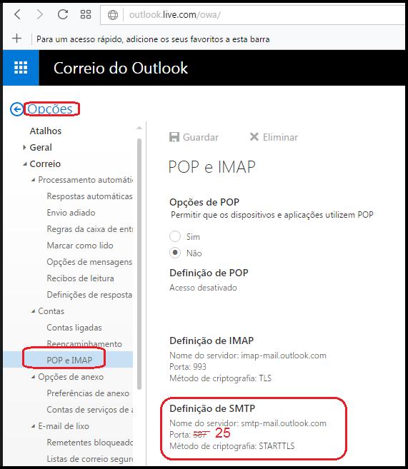 [Resolvido]Configurações do smtp-mail.outlook.com - Não aceitando portas 25, 465 ou 587 039