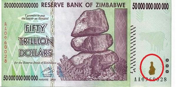 Mapa dolar Zimbabwe Fifty10