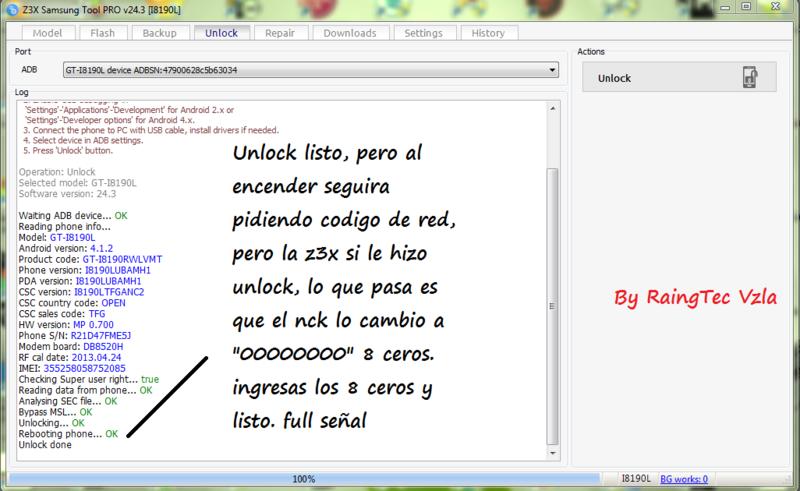 Solucion !! Unlock directa + code nck i8190L mini s3 con z3x 24.3 crack Full Unlock56