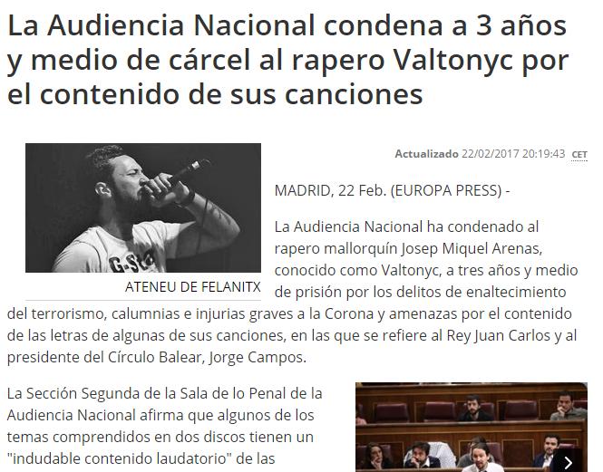 Represión politica y censura de la libertad de expresión en España 42242410